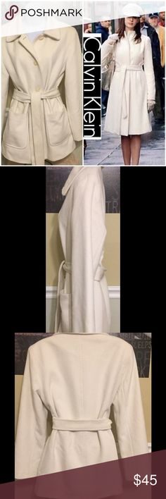 Women's Calvin Klein ivory pea coat angora wool This beautiful coat is to nice just to sit in the closet.  This coat is in excellent condition flawless no rips, tears, stains or discoloration and comes from a smoke free home.  The length measures approx 29 inches arm length approx. 24 inches.  Buy with confidence I am a top rated seller, fast shipper, and mentor. Thank you. Calvin Klein Jackets & Coats Pea Coats