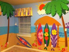 Mural Painting, Painting For Kids, Diy Painting, Hawaiian Crafts, Hawaiian Theme, Preschool Decor, Preschool Classroom, Beach Wall Murals, Wall Art