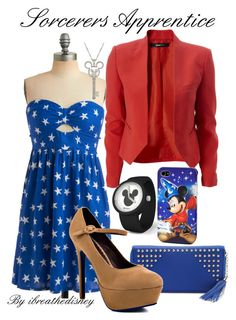 """""""Sorcerers Apprentice"""" by disneybelledesigns ❤ liked on Polyvore featuring Sugarhill Boutique, Disney and Promise Shoes"""
