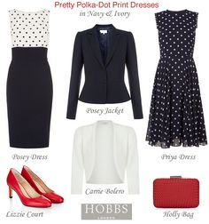 Hobbs polka dot print fit and flare and shift dresses with matching occasion jackets