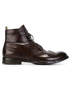 Officine Creative distressed brogue detail boots