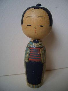 Japanese Vintage Boy Wood Kokeshi Doll Hand Painted Kimono CHONMAGE Apprentice