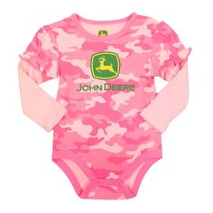 John Deere Girl's Infant Long Sleeve Onesie