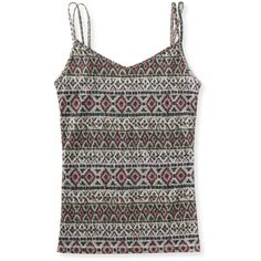 Aeropostale Tribal Inky Stripe Cami ($6) ❤ liked on Polyvore featuring cream, cotton camisole, slimming cami, print cami, aeropostale cami and aéropostale