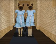 Siamese Twins The Shining Cat Print Signed by toadbriar on Etsy