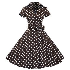 Vintage Women's V-Neck Polka Dot Print Short Sleeve Ball Dress