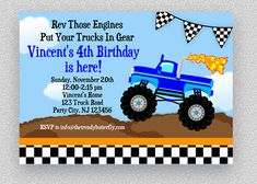 Monster Truck Invitation, Monster Truck Birthday Invitation, Monster Truck Birthday Party, Monster Truck Party, Truck Party Invite by TheTrendyButterfly on Etsy Monster Truck Birthday, Monster Trucks, Truck Nursery, Monster Birthday Invitations, Personalized Pillow Cases, Tent Cards, Party Signs, Printable Invitations, Birthday Party Decorations