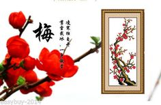 Needlework-Cross-Stitch-Kit-Plum-Blossom-Flowers-Embroidery-Kits-Painting-Print