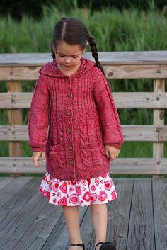 Ravelry: Lavanda pattern by Elena Nodel girl coat knitting pattern Kids Knitting Patterns, Knitting For Kids, Crochet For Kids, Baby Knitting, Knit Crochet, Knit Cardigan Pattern, Girls Sweaters, Clothing Patterns, Knitwear