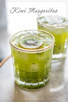 You should try our quick and easy kiwi margaritas! Fresh muddled kiwi fruit is so amazing and refreshing. Summer Drink Recipes, Easy Drink Recipes, Summer Drinks, Smoothie Recipes, Smoothies, Cocktail Party Food, Margarita Cocktail, Cocktail Drinks, Cocktail Recipes