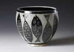 Chris Conklin, Boulder Colorado potter, salt-fired pottery using sgraffito technique.