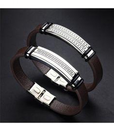 dd60c5a1d907 Acero inoxidable pulsera de cuero genuino hebilla moda hecha a mano