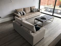 Contemporary sofas for a bright, open plan living room.  These two sofas measure 300 cm x 100 cm & 200 cm x 100 cm.  The smaller (nearest in the image) is in Ross Fabrics Kilburn, with Z+R Chelsea bolster straps/scatter cushions.  The larger sofa is in Designers Guild Sicilia. Sofas, Sofa Bed, Couch, Large Sofa, Contemporary Sofa, Designers Guild, Scatter Cushions, Open Plan Living, Living Room