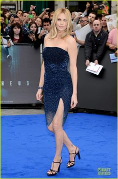Charlize Theron at the 'Prometheus' World Premiere! She is wearing a dress and heels both by Dior with Bulgari jewels.
