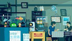 gif,gif animation, animated pictures,pixel art,new Gif Animé, Animated Gif, Animation Pixel, How To Pixel Art, Arte 8 Bits, Anime Gifs, Japon Illustration, 8 Bit Art, Pixel Art Games