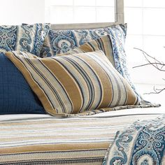 Bring a touch of country-chic style to your guest bedroom or master suite with this charming cotton sham, showcasing a classic stripe motif.