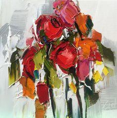 "Kimberly Kiel - Coming Up Roses III - 16"" x 16"" - oil on canvas"