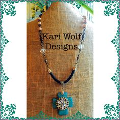 Turquoise Cross Rhinestones & Black Leather Statement Necklace  Created By: Kari Wolf Designs  www.KariWolfDesigns.etsy.com
