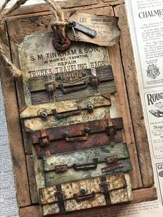 Travel Tag from Stacy Hutchinson using Tim Holtz! Photo Halloween, Tim Holtz Dies, Crackle Painting, Handmade Tags, Distressed Painting, Card Tags, Tag Art, Altered Art, Making Ideas