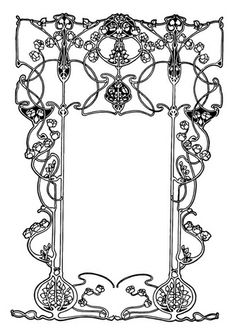 Coloring page art nouveau frame