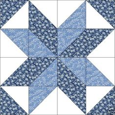Maywood Blue Floral Star Quilt Top Block Precut Kit on PopScreen Quilten Half Square Triangle Quilts Pattern, Quilt Square Patterns, Barn Quilt Patterns, Pattern Blocks, Square Quilt, Quilt Block Patterns 12 Inch, Quilt Blocks Easy, Easy Quilts, Patchwork Quilting