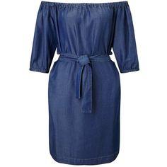 Miss Selfridge Bardot Belted Denim Dress ($68) ❤ liked on Polyvore featuring dresses, mid wash denim, miss selfridge dress, tie belt, blue denim dress, miss selfridge and blue dress