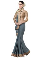 Grey Color Georgette Casual Function Sarees : Nihira Collection YF-27712