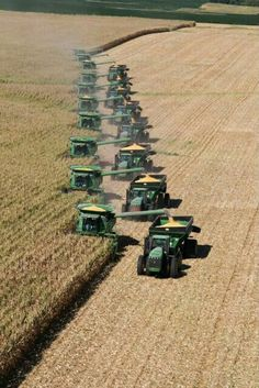 Combines with grain carts.. truly a sigh to see