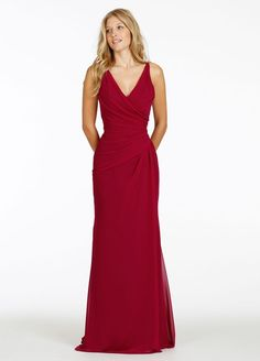 JLM Occasions style 5412 Chiffon A-line bridesmaid gown, draped V-neckline, asymmetrical drop waist with draped skirt, V-back.