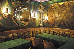 """""""These walls in Loulou's are painted with scenes from Leon Bakst's work for Diaghilev's 'Scheherazade' ballet."""""""