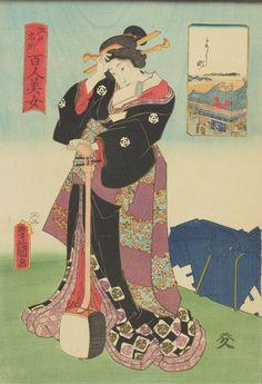 A geisha standing wi