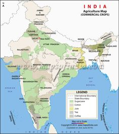 Commercial Crop Map of India Geography Map, Physical Geography, Gernal Knowledge, General Knowledge Facts, Indian River Map, Economic Map, India World Map, India Gk, World Map Printable