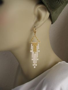 Seed Bead And Chain Dangle Earrings Cream by pattimacs on Etsy