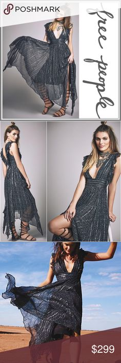 NWT Free People My Antonia Maxi Dress ➖NWT ➖BRAND: Free People ➖SIZE: 12 ➖STYLE: My Antonia metallic black / silver with blue accents maxi dress with an asymmetrical hem. The shine gives the dress a glitter Sequin look.   ❌ NO TRADE  Prom homecoming cocktail club   Entropycat Free People Dresses Maxi