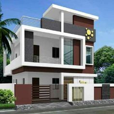 House Front Wall Design, House Main Gates Design, Home Door Design, 3 Storey House Design, Bungalow House Design, Modern House Design, Building Elevation, House Elevation, Indian House Plans
