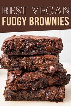 These delicious Fudge Vegan Brownies are so rich and fudgy, it might blow your mind. After making them from scratch, you'll never look at store-bought brownie mix again! One of the most delicious vegan desserts you'll every try. Healthy Vegan Desserts, Vegan Dessert Recipes, Vegan Recipes Easy, Sweet Recipes, Vegan Food, Fudgy Vegan Brownies, Homemade Brownies, Vegan Kitchen, Comfort Food