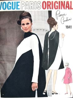1960s Dramatic Pierre Cardin Dress With Attached Shawl Scarf Pattern Vogue Paris Original 1941 Vintage Sewing Pattern Bust 34