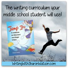 Jump In is the writing curriculum your middle school student will use! Easy, bite-sized lessons guide your student through the complexities of writing persuasion, exposition, description, and fiction.  #homeschool #writing