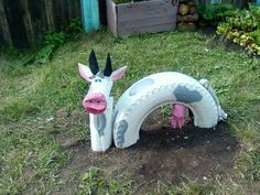 cow reuse tire coloured project repurposed pink latex glove garden ideas