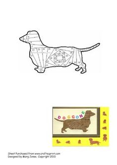 Dachshund Iris Folding Pattern on Craftsuprint designed by Margaret Jones - Iris Folding pattern of a cute little dachshund (doxie)dog. Any owner of one of these sweet-natured little pets would love to receive this card. - Now available for download!