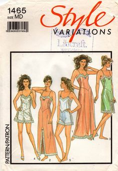 19c7a49781 Style 1465 Womens Slip Nightgown Cami Knickers French Knickers   Camisole  80s Vintage Sewing Pattern Size MEDIUM 14 - 16 UNCUT Factory Folded