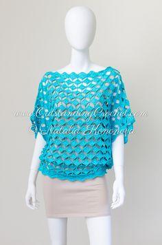 Outstanding Crochet: Crochet pattern in work - soon in the shop - Off Shoulder Seamless Turquoise Top.