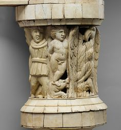 Detail  Couch and footstool with bone carvings and glass inlays 1st -2nd century BC Roman