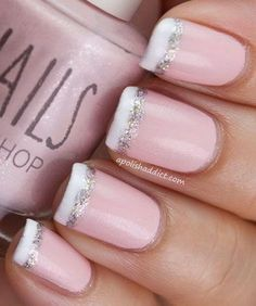 French Nail Tipped with White and Glitter #summernailart
