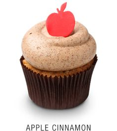 Fresh apple cinnamon cupcake topped with a cinnamon buttercream frosting! Available at Georgetown Cupcakes DC!