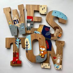 Wooden Letters for Nursery Camping Nursery Decor Lumberjack Wooden Letters For Nursery, Painted Wood Letters, Hand Painted, Big Letters, Letter Art, Camping Nursery, Baby Nursery Diy, Diy Baby, Helvetica Font