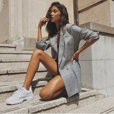 Checked Blazer, Lovely Legs, Blazers For Women, Long A Line, Boss Lady, Workwear, Dress To Impress, Coat, Winter