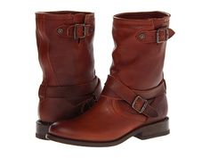 Love these tumbled leather engineer boots from Frye. #boots #shoelove