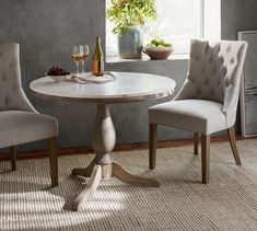 Inspired by a Paris Bistro - Pottery Barn Alexandra Marble Pedestal Dining Table with two chairs Marble End Tables, Round Pedestal Dining Table, Concrete Dining Table, Reclaimed Wood Dining Table, Extendable Dining Table, Dining Room Table, Wood Pedestal, Round Tables, Console Table