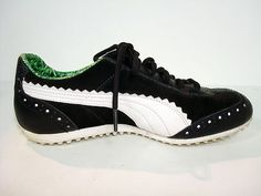 Puma Black White Leather Sneakers Tennis Athletic Shoes Golf Fashion Womens 8 5 | eBay